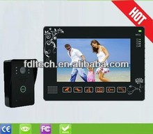 "Wholesales 9"" TFT LCD touch key wired video intercom 1 to 3,support 4CH video in, 1CH video out,door unlock"