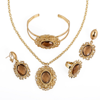 A204-BR Hot Sale Vintage Pendant Necklace Retro Brown Rhinestone Jewelry Set