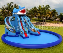 Top sale inflatable water slide with pool,new design Sea Water slide with pool,giant inflatable water slide for adultpool