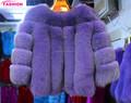 Nueva moda de piel de zorro azul abrigos/los siete cuartos de manga de piel de zorro para abrigos de ropa para mujer/de piel de zorro abrigos para las niñas
