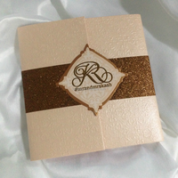 pocket fold with glitter paper lovely wedding invitation card