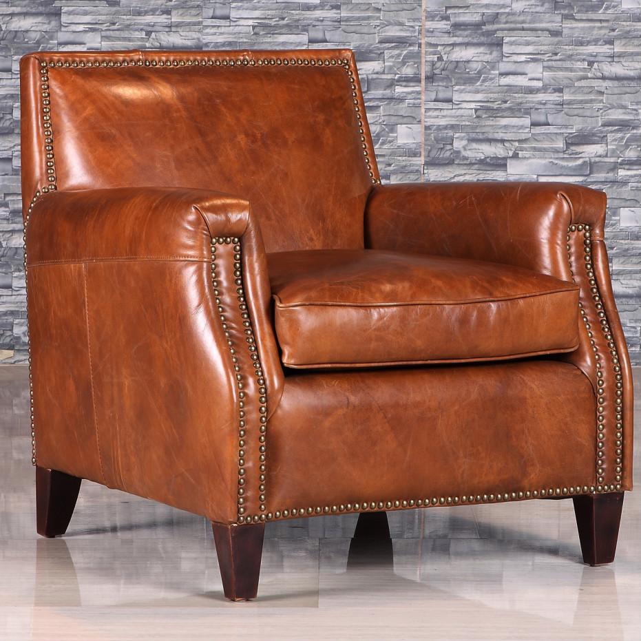 Retro estilo antiguo sill n de cuero con remache sof s - Sillon para leer ...