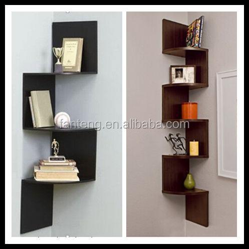 noyer en bois affichage zig zag moderne coin biblioth que tag re murale etag re livres id de. Black Bedroom Furniture Sets. Home Design Ideas