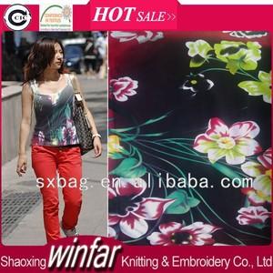 Shaoxing winfar single jersey spandex tejido de punto impreso cupra rayon fabric para prendas de vestir