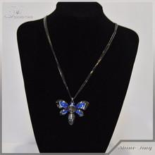 gun black plated accessory blue diamond butterfly pendant necklace