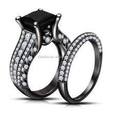 White Cubic Zirconia Black Plated Womens Black Gold Wedding Ring Set Engagement Ring Turkish Couple ring