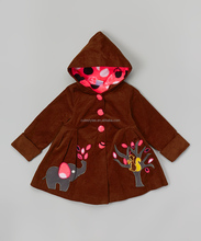 Hot sale cute chocolate and pink elephant corduroy swing little girl clothes Z-OC80627-10
