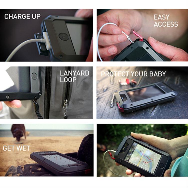 2014 Waterproof Shockproof Aluminum Metal case for s4 iv i9500