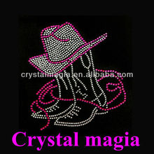 cowboy hat and boots crystal iron on motifs