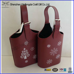 High Quality Printed Faux Leather Wine Bag Carrier