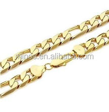 Mens 22K Yellow Gold Plated Figaro Chain Link Necklace 12mm Large Size Long Link Chain Jewelry