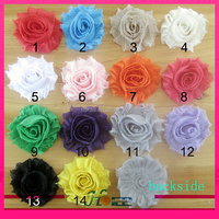 "2.5"" mix colors DIY flower hair accessories shabby chiffon flower"