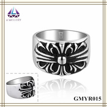 Antique Silver Plated Stainless Steel Rotating Gear Ring For Men