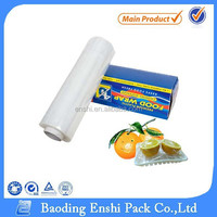 Commercial plastic food packaging 10 micron cling wrap with slider cutter