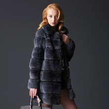 Nature rex rabbit long style women fur coat 2014
