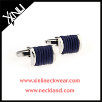 Navy Elastic Stainless Steel Silk Knot Cufflinks