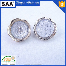 Gold color flower shape ABS shank button with white pearl ABS button