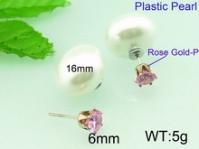 Trendy 16mm imitation pearl pink light weight zircon crystal stud earrings