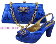 GF8003 blue latest women african shoes and bags for party