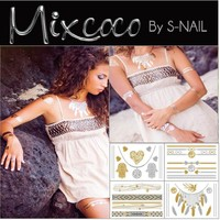 Mixcoco own design metallic Flash tattoo, OEM body jewelry flash temporary tattoo, Custom flash tattoo silver & gold jewelry