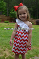 2013 hotsale! Summer chevron one shoulder sexy dress for baby girls sexy pink dress zig-zag solid dress for girls