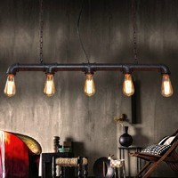 Nordic simple style industrial loft long water pipe pendant light with 5 Edison bulb