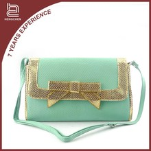 handcee shoulder green pu leather bag for women