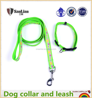The latest hot sale dog pet nylon leash with sewing tape lead pet collar and leash for dogs