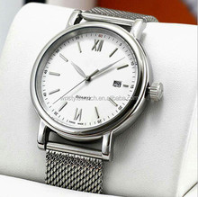 steel ribbon band brand quartz wrist watch, gold plating man fashion watch, stainless steel watch