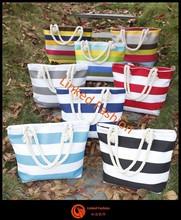 2015 Stripe women canvas handbag Tote Bag,Casual beach style Style Canvas Material canvas with rope handle bolsa de galon saco