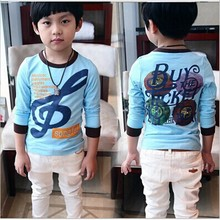 DB026 boys summer clothing blue popular design sports music printed kids t-shirt