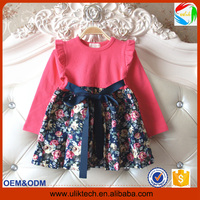 New korean candy baby clothes for kids wear autumn fancy child clothes for girl wholesale flower girl dress (Ulik-A0393)