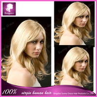 Top quality best seller brazilian honey blond 613 color human hair free part straight wavy lace front wigs for women qingdao