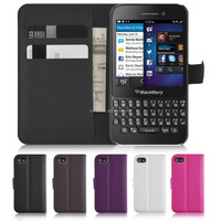 Book Style Magnetic Wallet Case For Blackberry Q5