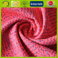 100% polyester fake linen chiffon with red cat fur pattern printing fabric