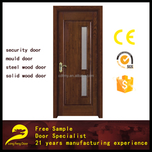wooden door for bathroom with glass insert design solid wood door