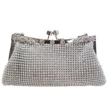 Metal frame swarovski crystal clutch evening bag