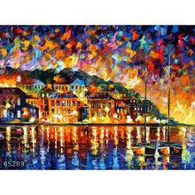 Handmade Modern impressionist Palette knife Landscape oil painting by Leonid Afremov, DREAMS OF GREECE
