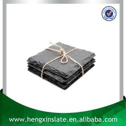 Factory Direct Sales Wholesale Natural 10*10*0.5cm Square Black Slate Coaster Stone Coaster