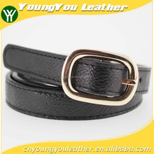 Simple 2015 fashion pu leather belts women with Black leather and Gold buckles in YIWu