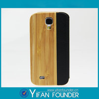 2015 New Product Wood Book Stand Leather Case For Samsung Galaxy S4