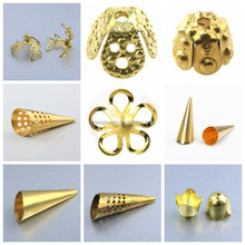 Yiwu Manufacturer Custom Different Designs Hollow Flower Shape Brass Beads Cap Fashion Jewelry Accessories