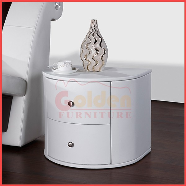 Mobilier moderne chambre en cuir blanc 302 night stand for Mobilier chambre blanc