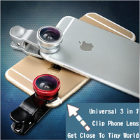 Newest Universal Clip Lens 3in1 Fish eye Wide and Macro Lens for all mobile phone Lens For Iphone6 for samsung galaxy s4