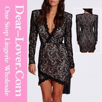 Fashion Korean Official Ladies Black Eyelash Lace Wrap Dress
