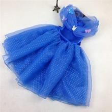 2015 elegir el tamaño stock cenicienta vestidos para las niñas vestido de cenicienta traje con bordado de la mariposa