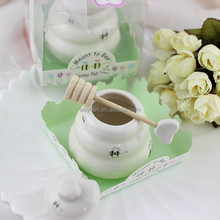 """Meant to Bee"" Ceramic Honey Pot + heart honey stirrer wedding souvenir and baby shower keepsake Porcelain Honey Jar"