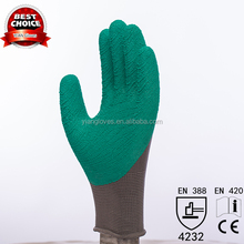 13 G seamless Knitting cotton liner ripple latex gloves with design