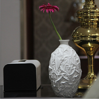 Simple oval white ceramic vase ornaments modern home fashion flower table decorations