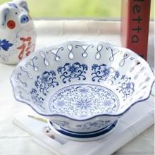 Jingdezhen hand-painted blue & white porcelain fruit plate
